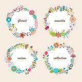 Set cztery kolorowego wektorowego kwiecistego wianku Zdjęcie Stock