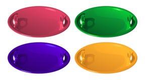 Set cztery koloru round dzieci saneczek czerwona plastikowa łódź dla narciarstwa od lodowego obruszenia, wektorowa ilustracja obraz stock