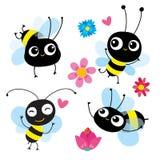 Set cztery kreskówki pszczoły w ruchu Each pszczoła odbija różną emocję, akcja Używa jako symbol ikony elementu emblemat dla dzie ilustracja wektor
