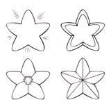 Set cztery kreskowej gwiazdy w różnorodnych projektach na białym tle, Ilustracji