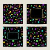 Set cztery kwadratowej karty z geometrycznymi kształtami Zdjęcie Stock
