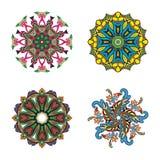 Set cztery kwiatu okręgu mandalas Zdjęcie Royalty Free
