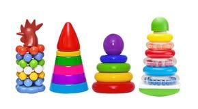 Set cztery ostrosłup zabawki odizolowywającej zdjęcia stock