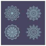 Set cztery pięknego płatka śniegu mandalas Obraz Stock