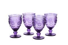 Set cztery purpurowego wineglasses z wzorem Zdjęcie Royalty Free