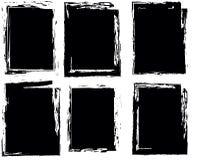 Set Cztery ramy Grunge styl czerń Obraz Royalty Free