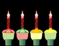 Set Cztery Retro Bożych Narodzeń Bąbla Światła Obraz Stock