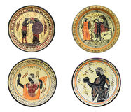 Set cztery starożytnego grka naczynia odizolowywającego na białym tle Zdjęcia Royalty Free