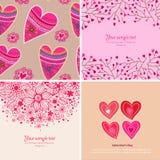 Set cztery Szczęśliwego valentines dnia tła. Zdjęcia Stock