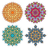 Set cztery witrażu mandalas Obrazy Stock