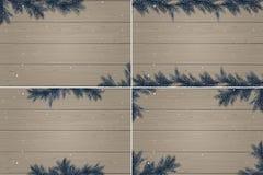 Set cztery zimy drewnianego tła Fotografia Royalty Free