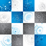 Set of 3d  abstract backgrounds created in Bauhaus retro s. Tyle. Geometric composition can be used as templates and layouts. Engineering technology wallpapers Royalty Free Stock Image