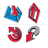Set of 3d abstract symbols, arrows. Business growth concept. Vector design elements, innovations theme icons royalty free illustration