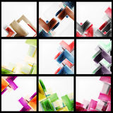 Set of 3d arrow backgrounds. Collection of vector web brochures, internet flyers, wallpaper or cover poster designs. Geometric style, colorful realistic glossy Stock Image