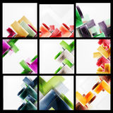 Set of 3d arrow backgrounds. Collection of vector web brochures, internet flyers, wallpaper or cover poster designs. Geometric style, colorful realistic glossy Royalty Free Stock Photo