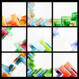 Set of 3d arrow backgrounds. Collection of vector web brochures, internet flyers, wallpaper or cover poster designs. Geometric style, colorful realistic glossy Stock Photography