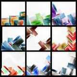 Set of 3d arrow backgrounds. Collection of vector web brochures, internet flyers, wallpaper or cover poster designs. Geometric style, colorful realistic glossy Royalty Free Stock Photography