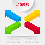 Set of 3D arrows. Four ways. Vector Stock Photo