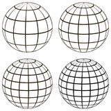 Set 3D ball globe model of the earth sphere with a coordinate grid,. Vector globe with meridian and parallel, longitude, map template Stock Photography