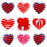 Set of 3d beautiful red heart on a white Stock Photography