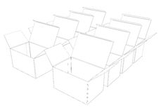 The set of 3d boxes. The set of 3d boxes on isolated background Stock Image