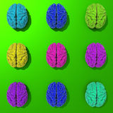 Set of 3d brains, low poly illustration. Stylized set of low poly brains illustration, pop art style Royalty Free Stock Images