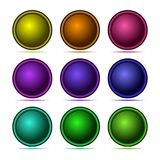 Set of 3d button with frame. Matted icons for web. Vector design round tablet Stock Photography