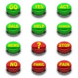 Set of 3D buttons. Red and green on white background. Royalty Free Stock Photography