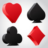 Set of 3d card suit icons in black and red. Vector illustration Royalty Free Stock Photo