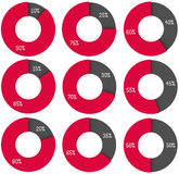 10 90 25 75 40 60 15 85 30 70 45 55 20 80 35 65 50 pie charts. 3d render red and grey circle diagrams. Infographics Stock Image