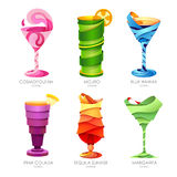 Set of 3D cocktails design Stock Photography
