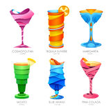 Set of 3D cocktails design Stock Photos