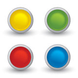 Set of 3D colored buttons with shadow. On white Stock Photography