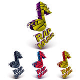 Set of 3d colorful vector shattered musical notes with specks an Royalty Free Stock Photo