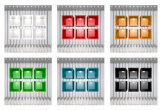 Set of 3D colourful shelves Royalty Free Stock Photography