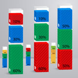 Set 3D of columns with percent. Suitable for infographics, presentations, for web design, advertising stock illustration