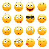 Set of 3d cute Emoticons. Emoji and Smile icons. Isolated on white background. vector illustration. Stock Photography