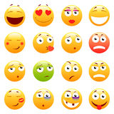 Set of 3d cute Emoticons. Emoji and Smile icons.  on white background. vector illustration. Royalty Free Stock Photos