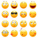 Set of 3d cute Emoticons. Emoji and Smile icons.  on white background. vector illustration. Stock Photography