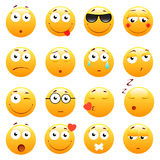 Set of 3d cute Emoticons. Emoji and Smile icons.  on white background. vector illustration. Royalty Free Stock Images