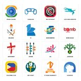 Set of d dentist, 10 years warranty, philippine flag, ail, antichrist, bookkeeping, brahmin, no copyright, ashok chakra icons. Set Of 16 simple  icons such as d Stock Photo