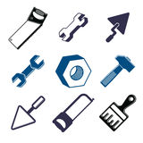 Set of 3d detailed tools, repair theme stylized graphic elements Royalty Free Stock Photography