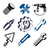 Set of 3d detailed tools, repair theme stylized graphic elements. Isolated on white. Collection of classic work tools, vector industry icons Stock Photos