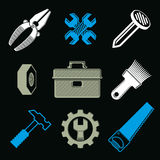Set of 3d detailed tools, vector repair stylized graphic element Stock Images