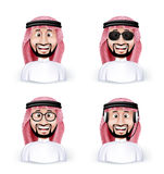 Set of 3D Dimension Saudi Arab Man vector illustration
