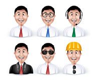 Set of 3D Dimension Smart Different Professional. And Business Man Characters and Avatars in Long sleeve and Necktie Isolated in WHite Background. Editable Stock Image