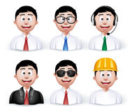 Set of 3D Dimension Young Different Professional. And Business Man Characters and Avatars in Long sleeve and Necktie Isolated in WHite Background. Editable Stock Photography