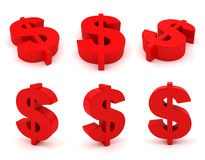 Set of 3D dollar sign. S in red color isolated on white Stock Photo