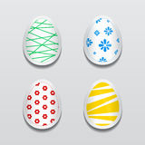 Set of 3d egg stickers with different patterns for Easter. Vector paper labels for festive design Stock Photos