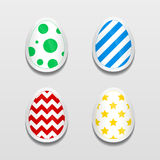 Set of 3d egg stickers with different patterns for Easter. Vector paper labels for festive design Stock Photography